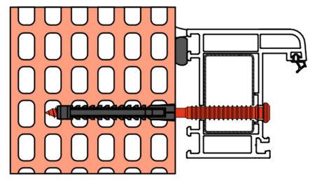 Vis de pose réglables SPTR-V8 menuiserie PVC support brique